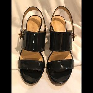 Coach Dark Gray Patent Leather Heeled Sandals